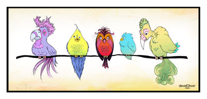 Illustration of 5 colorful birds sitting in a row on the same branch