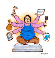 Illustration of a woman with six arms that each hold a different item of interest