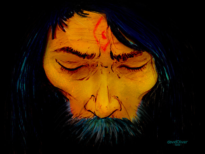 Illustration of yogi in deep meditation whose third eye is opening