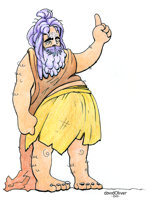 Illustration of an unkempt, pudgy, hairy sadhu holding one finger up in the air