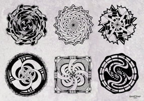 Illustrations of 6 original hand-drawn mandala designs in black ink
