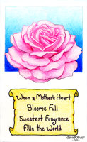 Illustration of a pink rose with a poem about motherly love