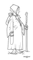 Illustration in ink of an elderly woman wandering with staff, rosary, and bundle