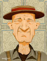 Illustration of an old man wearing a brim hat and suspenders