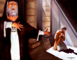 Digital painting of the parable of the Pharisee and the Tax Collecter from the Christian Bible
