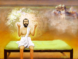 Digital painting of Sri Ramakrishna seated on a cot with Belur Math temple and river Ganga in the background