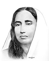 Graphite portrait of the Holy Mother, Sri Sarada Devi