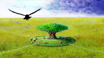 Digital painting concept of the wishing tree of Hindu mythology