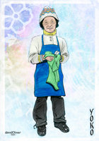 Illustration of an elderly Japanese woman wearing an apron and drying dishes with a towel