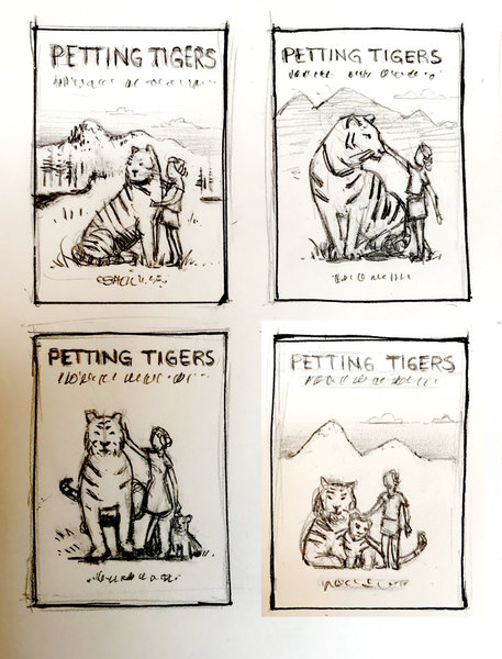 Petting Tigers cover art composition thumbnail sketches by David Oliver